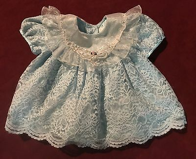 Vintage 1980's Ruffle Baby Dress Baby Blue Lace Pearls  12-18 month Prop