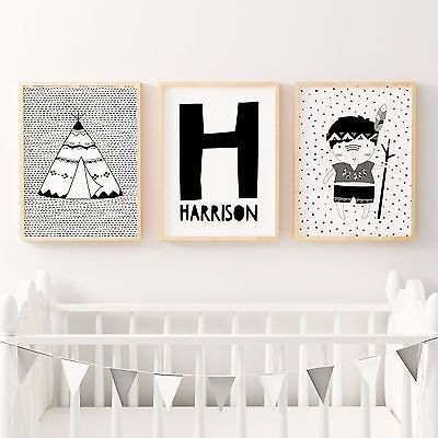 Set of 3 Nursery Bedroom Decor Wall Art Print- Baby Boys-MONOCHROME TRIBAL
