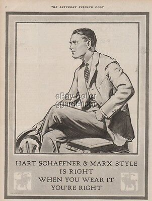 1923 Hart Schaffner & Marx Men's Fashion Suit Vintage Style Fashion Art Ad