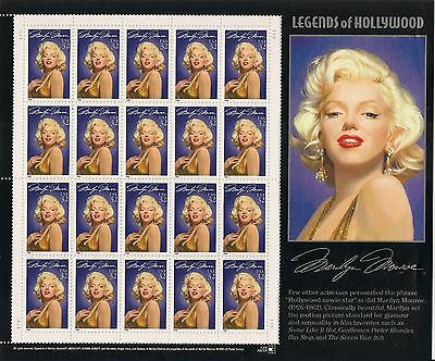 US Legend of Hollywood Marilyn Monroe 4 Sheets = 80 Stamps w/ Free Shipping