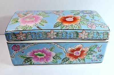 Vintage  Chinese Floral Painted Rectangular Ceramic Covered Trinket Box
