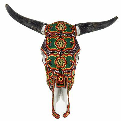 Large Huichol Beaded Bull Skull Wall Mount Authentic Mexican Folk Art