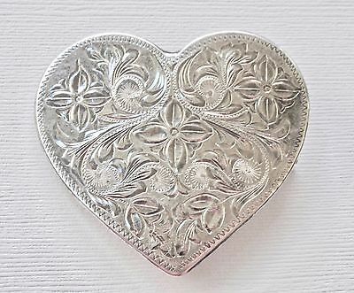Hair Accessory Vintage Barrette Sterling Silver Heart Floral Embossed Victorian