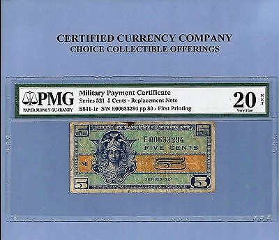 Military Payment Certificate series 521 Replacement Note 5 cents PMG Very Fine