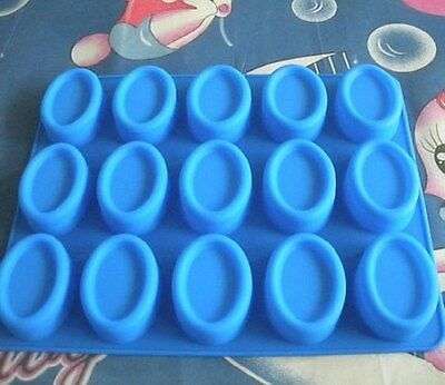 15-Cavity Oval Shape Soap Mold Silicone Chocolate Mould Tray Homemade Making DIY
