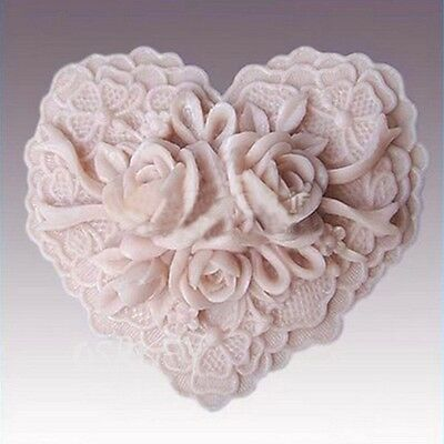 3D heart Soap Mould Candle Melt Hand Craft Silicone Cake Fondant Chocolate Mold