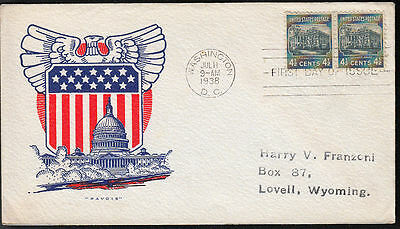 809 4 1/2c White House pair (on capital cover) Pavois Cachet,  addressed