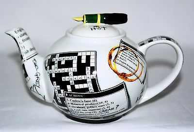 Crossword Design by Paul Cardew 16 Oz Porcelain Tea Pot with Ink Pen Lid