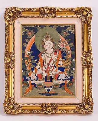 Tibetan Framed Thangka Of Seated Tara