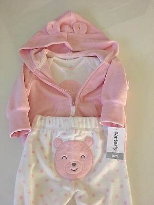 Baby Girl 3 Piece Set Pink Bear Bodysuit Pants and Jacket Hoodie Carter's 6 Mont