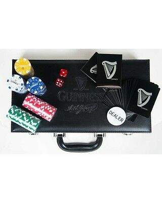 Guinness 300 Chips Poker Set Irish Ireland Beer Embossed Carrying Case Dice NEW