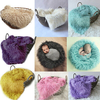 Baby Newborn Photo Faux Fur Photography Photo Props Blanket Rug Background AU