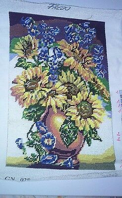 Goblen / Gobelin 100% handmade with sunflowers pattern 22 x 33 cm without frame