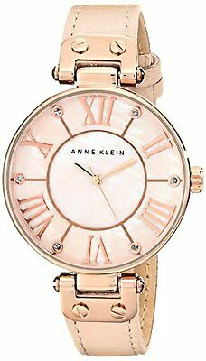 Anne Klein Womens Rose Gold-Tone Watch W/ Leather Band