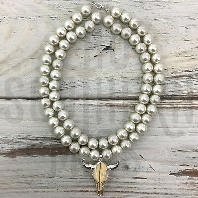 PMB Longhorn & Double Pearl Necklace