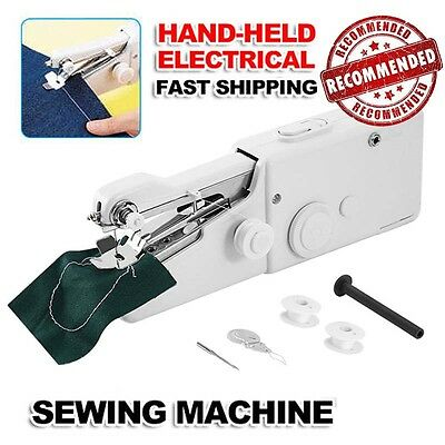 Portable Home Travel Desk Sew Quick Hand-held Stitch Clothes Sewing Machine