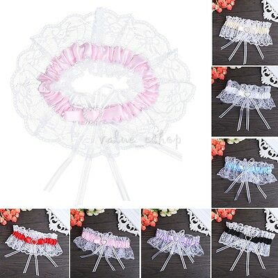 Wedding Bridal Crystal Heart Satin Lace Floral Ruffle Elastic Party Toss Garter