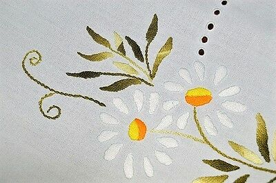 Daisy Delight & Dainty Crochet! Vtg German Hand Embroidered Spring Tablecloth