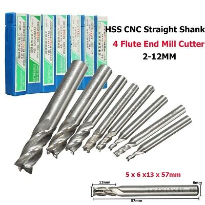 2-12mm HSS CNC Straight End Mill 4 Flute Milling End Cutter Drill Bit Tool -UK