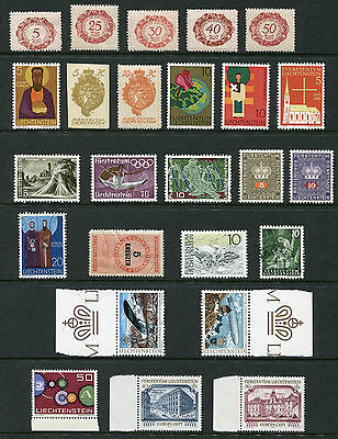 Liechtenstein.  Mixed selection of 25 stamps MUH and USED.