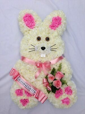Artificial Silk Funeral Flower Rabbit Bunny Wreath Tribute Memorial Daughter Son