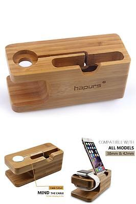 Apple iWatch Stand Charging Dock Cradle Holder iPhone Station 38mm 42mm Bamboo