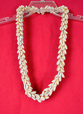 Vintage 60s Hawaii Puka Shell Necklace Thick Heavy Triple Strand Design Lei