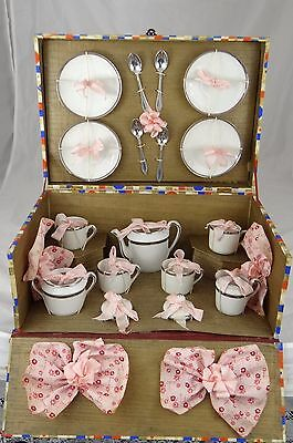 Vintage Porcelain China Doll House Child Miniature Toy Tea Set Never Unwrapped