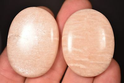 2 MOONSTONE THUMB STONES 31g Healing Crystals Worry Palm, Inner Growth Strength