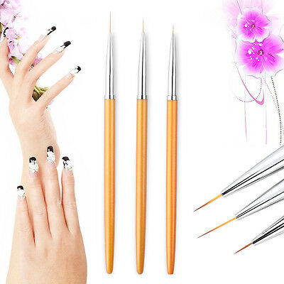 DIY 3Pcs Nail Drawing Painting Striping Pull Line Pen Superfine Brushes Set