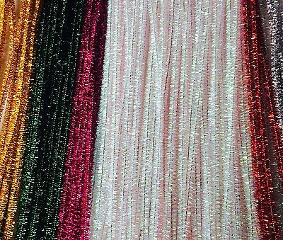 85 Tinsel  Chenille Stems Pipe Cleaners Craft Children's 6mm 30cm Asstd Colours