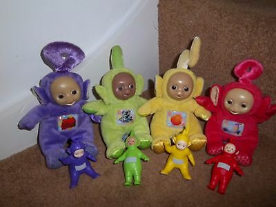 Small Set Teletubbies Soft Toys Tinky Winky Dispy Lala Po + Plastic Figures Tomy
