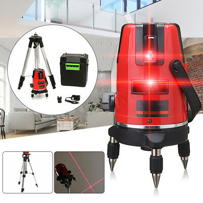 5Line 6Point Laser Self Leveling Meter Measure+Tripod For Horizontal Vertical