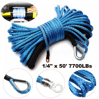 6mm x15m Blue Synthetic Winch Line Cable Rope 7700LBs with Sheath ATV UTV