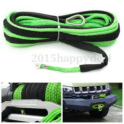6mm x15m Synthetic Winch Rope Line Cable 7000 LBs With Sheath For ATV Vehicle