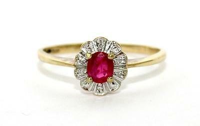 9ct Gold, Ruby & Diamond Cluster Ring, Size  P½, Perfect Condition