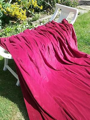 WOW! Vintage Ex-theatre Crimson Cotton Velvet DOOR Curtains Base Chain HUGE! (A)