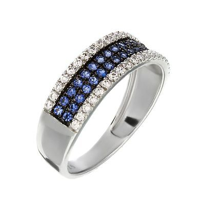 Antique Silver Ring With Blue Transparent Gems Rhodium Plated Engagement Ring