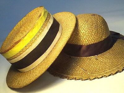 Vintage x2 Straw Hats G A Dunn & Co Straw Man's Boater & Woman's Hat (WH_0724)