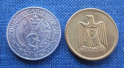 North Africa Lot Of 2: Egypt 1 Millieme 1960, Algeria 1 Centime Ah1383 1964 Unc