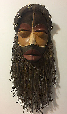 Genuine African Dan Mask with Raffia Beard Total Lenght about 25 inches (64cm)