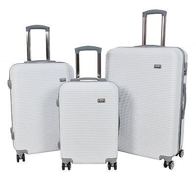 Suitcases ABS Strong Hard Shell 4 Wheels Lightweight WHITE Luggage Trolley Bags