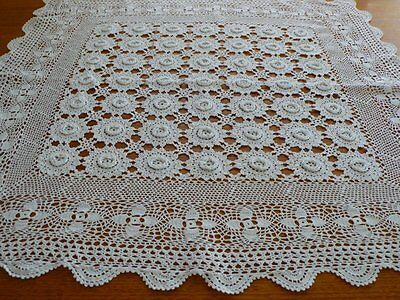 White Crochet Lace Table Topper Supper Cloth With Rosettes 84 X 81Cm