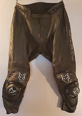 *Wolf Sport *Leather Motorcycle Trousers *Black *Race Track *UK 38 Waist *VGC