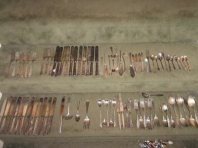 LOT 10lbs of OLD Silverplate Flatware 91 Pcs. Partial sets + misc Serving Pcs.