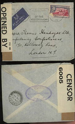 GIBRALTAR 1941 airmail PC 66 censor cover to UK