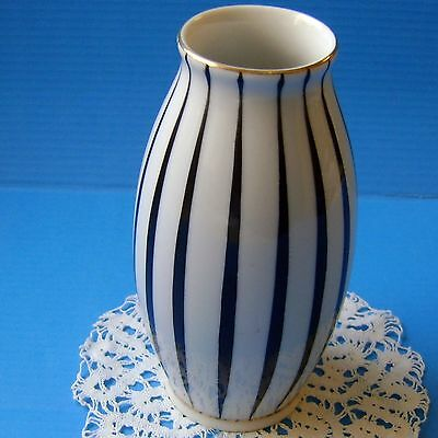 Vintage Hungarian HOLLOHAZA Porcelain Rare ART DECO black and white VASE marked