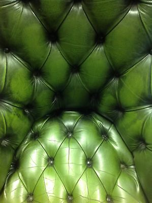 Green Leather Button Back Swivel Chair