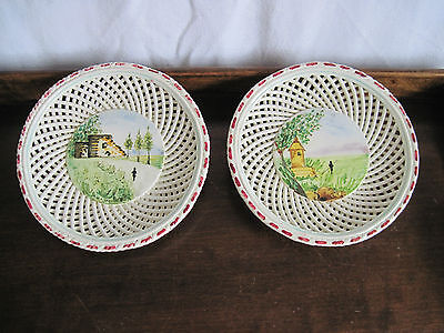 "Vintage Decorative Plates  Hand Painted ITALY Set of two, 7 1/2"" Diameter"