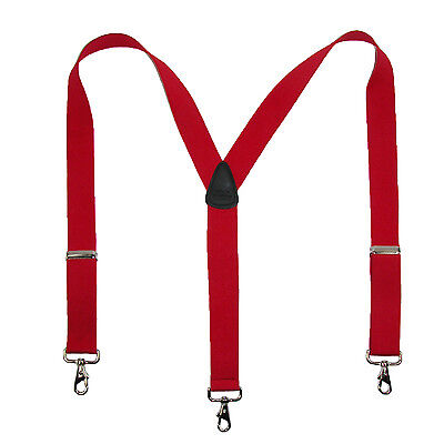 New CTM Men's Elastic Solid Color Suspender with Metal Swivel Hook Clip End